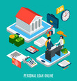 online loaning isometric composition vector image vector image