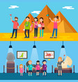 people on excursion horizontal banners vector image vector image