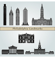 philadelphia landmarks and monuments vector image vector image