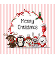 postcard with cute baby animals on christmas wear vector image