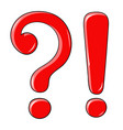 question and exlamation marks red shiny elements vector image