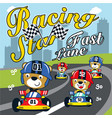 racing car formula cartoon vector image vector image