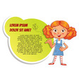 schoolgirl pointing at a poster vector image