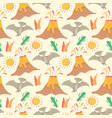 seamless pattern with dinosaurs palms and vector image