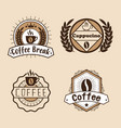 set coffee labels and badges retro style coffee vector image