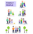set happy traditional families with children vector image