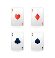 Set of four aces playing cards on white vector image