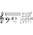 set of various black musical note icon isolated on vector image
