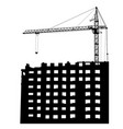 silhouettes of crane on building on a white vector image