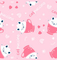 sketch cat seamless pattern for boys hand vector image vector image