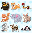 sticker design with wild animals on blue vector image vector image
