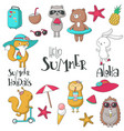 summer icon set hand drawn vector image