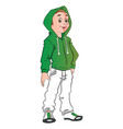 teen boy wearing hooded jacket vector image vector image