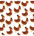 thanksgiving day cute turkey with hat design vector image vector image