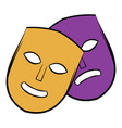 theater masks icon cartoon vector image
