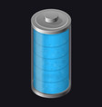 transparent glass battery full charging blue vector image vector image