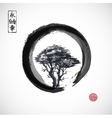 Tree in black enso zen circle