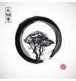 Tree in black enso zen circle vector image vector image