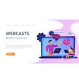 webcasts and modern education landing page vector image vector image