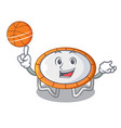 with basketball trampoline jumping shape cartoon vector image
