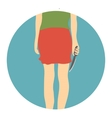 Woman with knife icon flat style vector image