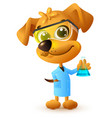 yellow teacher dog holding flask chemistry lesson vector image