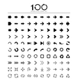 100 Basic arrow sign icons set vector image
