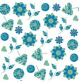 abstract fantasy floral seamless pattern in blue vector image vector image