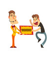 anchorman and happy man holding winning check vector image