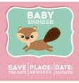 beaver animal baby shower card icon vector image vector image