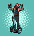 biker on electric scooter rider vector image
