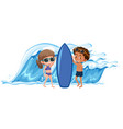 boy and girl holding the surfboard vector image