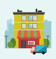 Building retail store front with delivery van vector image