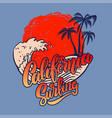 california surfing emblem template with sea waves vector image vector image