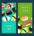 cartoon sushi vertical banner templates vector image