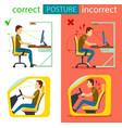 correct and incorrect sitting posture vector image vector image