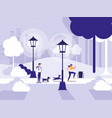 couple in park with lamps isolated icon vector image