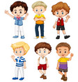 cute boys with happy face vector image vector image