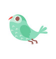 cute cartoon green owlet bird character flying vector image vector image