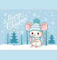 cute merry christmas card with a cute little mouse vector image vector image