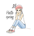 Cute young girl in pink hat vector image