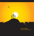 easter landscape with calvary and crosses vector image vector image