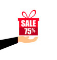 gift box on the hand with a 75 percent discount vector image vector image