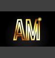 gold alphabet letter am a m logo combination icon