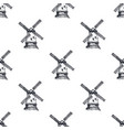 hand drawn windmill seamless pattern background vector image