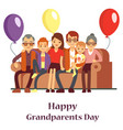 happy family with grand mother and grandfather vector image