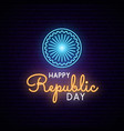 happy india republic day neon design vector image