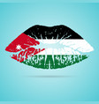 jordan flag lipstick on the lips isolated on a vector image vector image