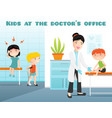 kids at doctors office cartoon vector image vector image