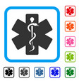 life star medical emblem framed icon vector image vector image